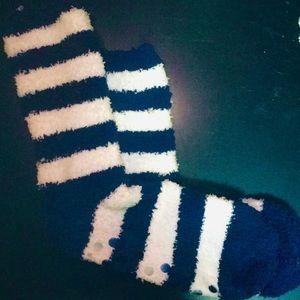 Blue & White Striped Soft Plush Fuzzy Socks
